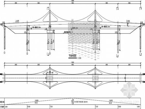 五跨板式斜拉人行景观桥设计图68张 pdf