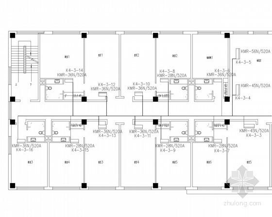 小型办公楼空调通风系统设计施工图(KMR变频多联系统)