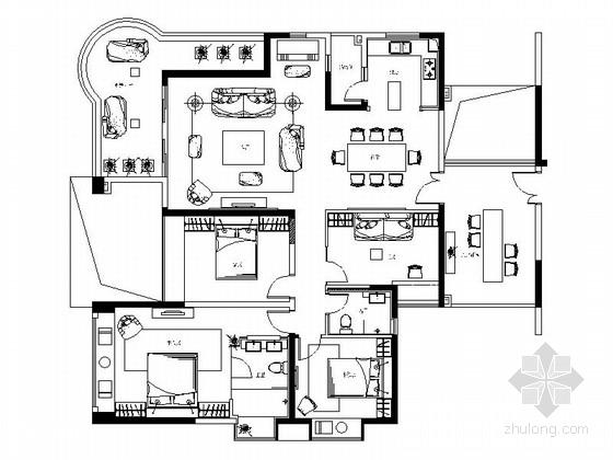 [深圳]新古典主义风格三居室样板房装修施工图(含材料表、家具清单)