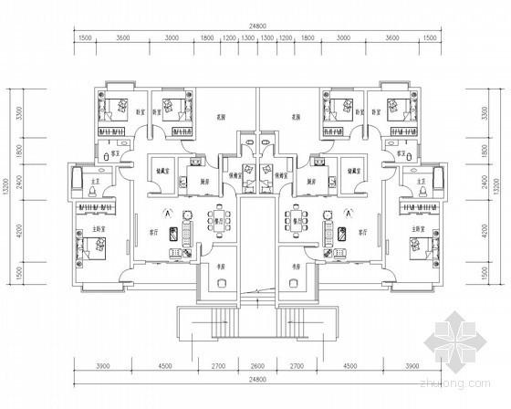 某顶层跃层花园洋房户型平面图