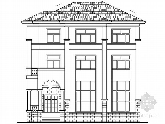 某三层欧式独栋别墅建筑施工图(可当小型办公楼)