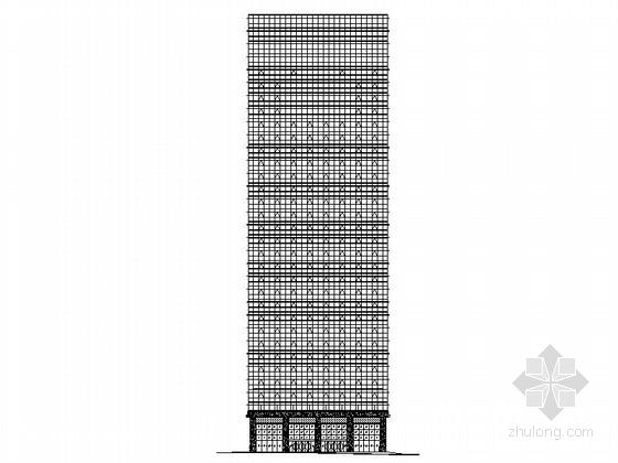 [深圳]某二十八层商业综合体钢化玻璃幕墙建筑施工图