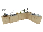 实木橱柜3D模型下载
