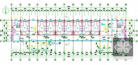 [安徽]学生公寓及食堂建筑安装工程预算书(含施工图纸)-学生公寓一层平面图.