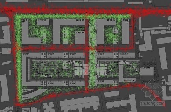 现代风格商务住宅规划分析图