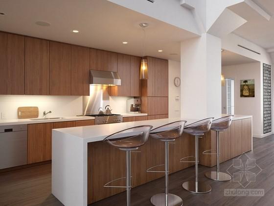 大气现代简约别墅客餐厅3d模型效果图