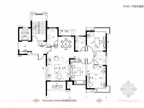 [上海]欧式风格三居室样板间室内软装设计方案
