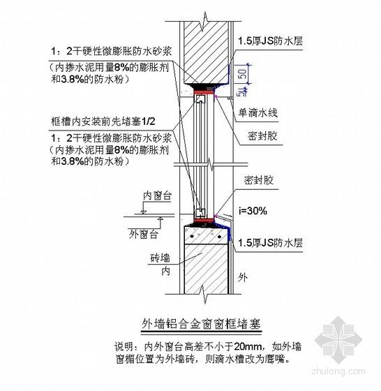 外墙铝合金窗防渗漏节点详图