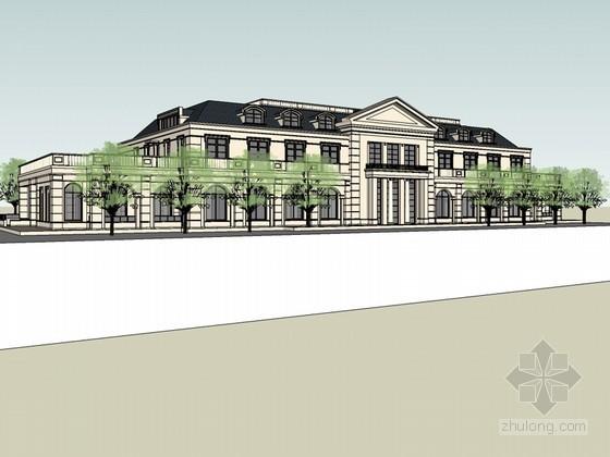 法式会所建筑SketchUp模型下载