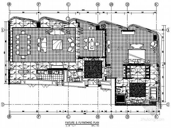 [安徽]廣場商業圈酒店現代總統套房CAD裝修施工圖(含效果)