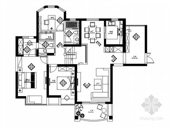 [南通]150平现代中式风格跃层公寓装修施工图(含效果)