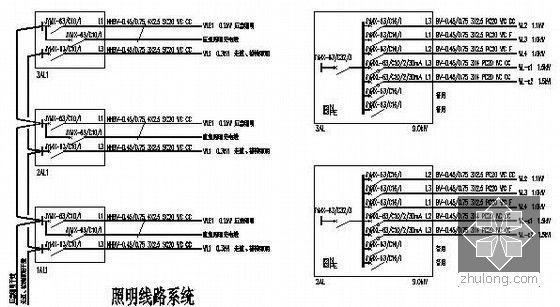 [安徽]教学楼建筑及安装工程量清单计价实例(附图纸及软件文件)-照明线路系统图