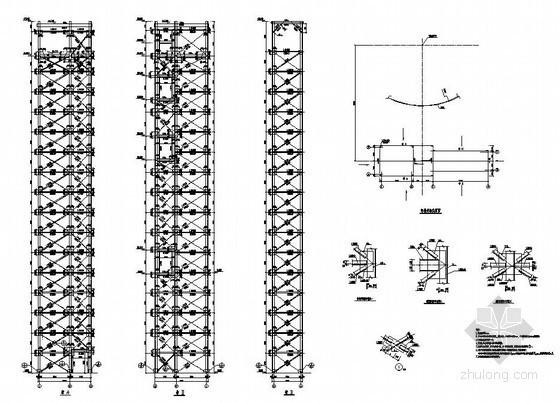 某全钢结构室外独立电梯井架及刚梯建筑结构图