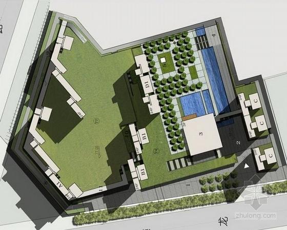 [深圳]现代化科技住宅小区组团景观规划设计方案-模型图