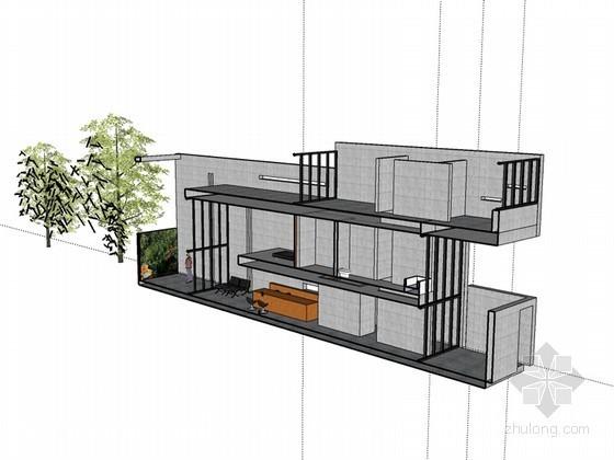 现代住宅剖面