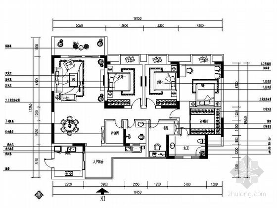 [重庆]高档住宅小区典雅中式四居室装修施工图(含效果)