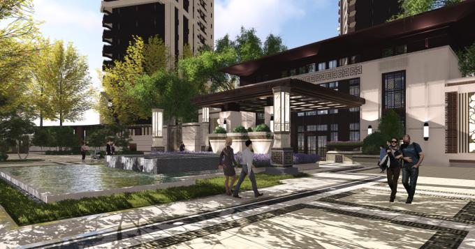 [江西]新中式东方盛唐帝景深宅庭院景观规划设计方案-中央庭院景观效果图