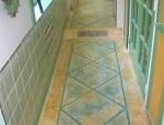 走廊雕刻着色混凝土地坪