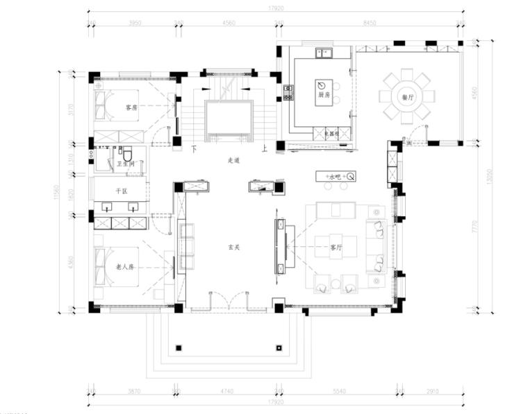 [辽宁]新韵至雅——259㎡新古典混搭风住宅设计施工图及效果图