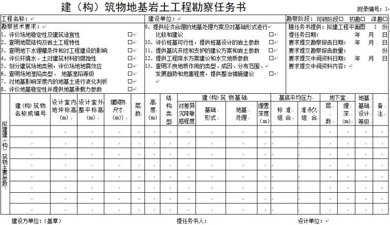 建筑物地基岩土工程勘察任务书