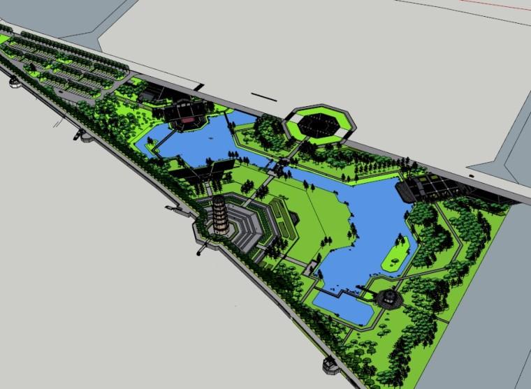 北塔公园SU景观模型
