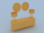 欧式梳妆台3D模型下载