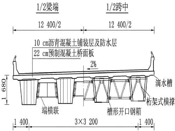 槽形钢梁-预制混凝土桥面板组合箱梁设计研究_1