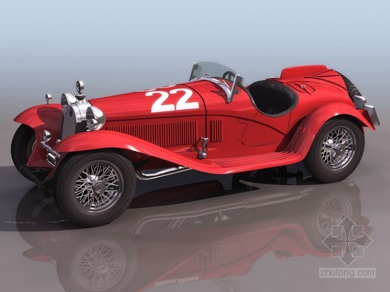 红色经典老爷轿车效果图模型