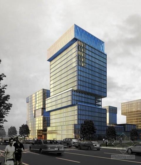 [广东]高层半围合式骑楼布局办公大厦建筑设计方案文本-高层半围合式骑楼布局办公大厦建筑效果图