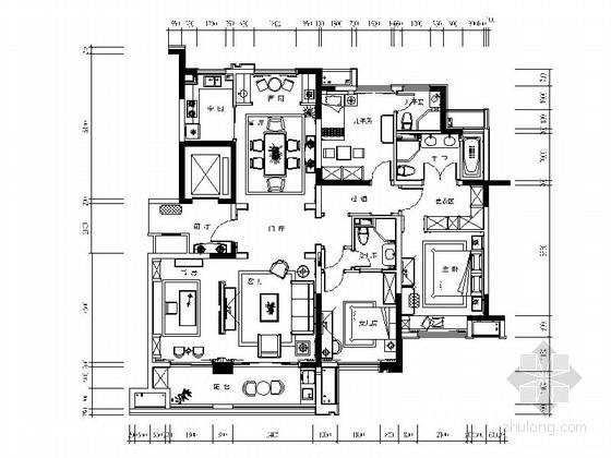 [江苏]160㎡新中式风格样板房住宅CAD施工图(含效果图)