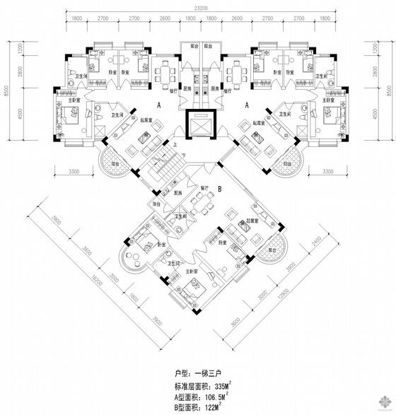 塔式高层一梯三户户型图(107/107/122)
