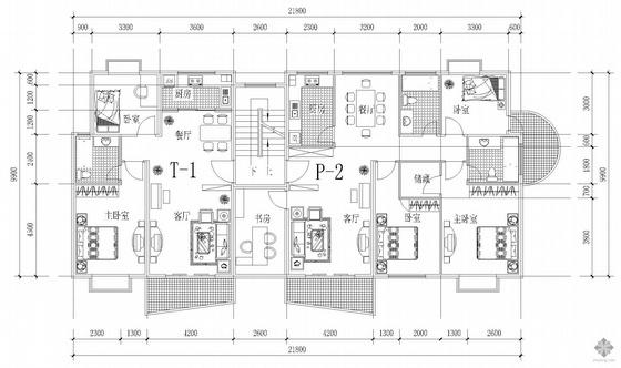 板式多层一梯两户户型图(87/142)