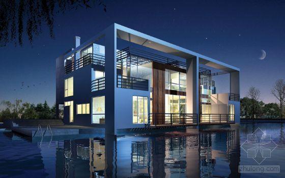 现代别墅风格建筑效果图