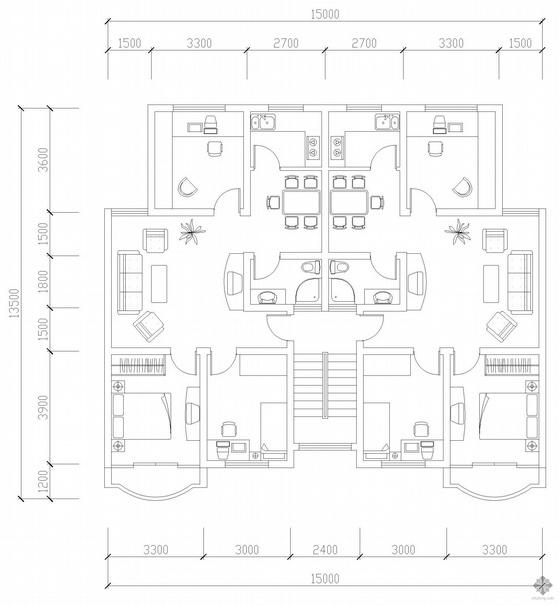 板式多层一梯二户三室二厅一卫户型图(95/95)