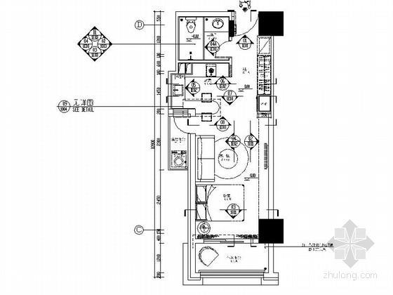 [西宁]40平现代简约一居室样板间装修施工图(含水电)