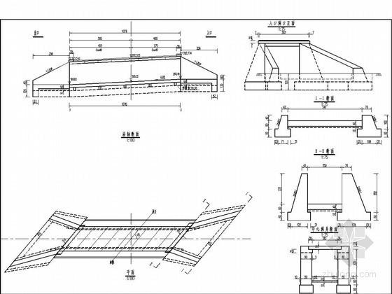 1-2.5米钢筋混泥土盖板涵布置图(斜交40度)