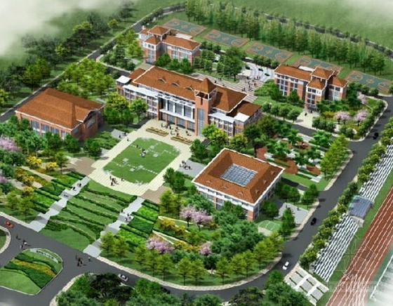[山东]中学室外景观绿化工程预算书(含施工图纸)
