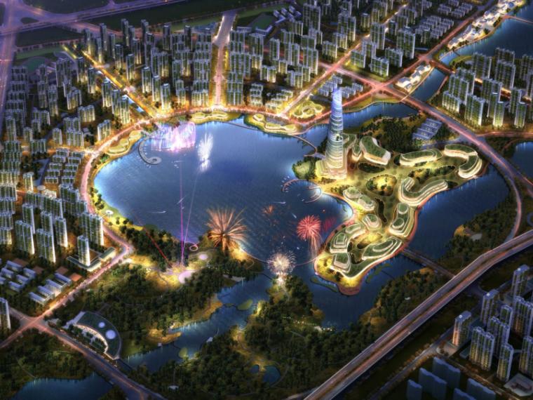 [河南]郑州西流湖生态智慧新城城市设计(滨水)A-0鸟瞰图
