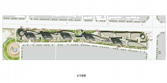 [河北]流线型多层特色商业综合体规划及建筑设计方案文本-流线型多层特色商业综合体总平面图