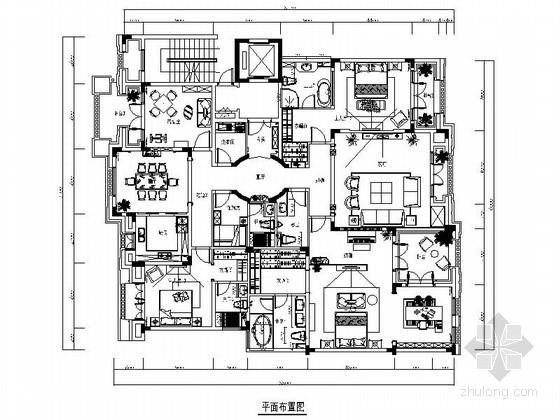 奢华欧式风格三居室室内装修CAD施工图(含效果图)