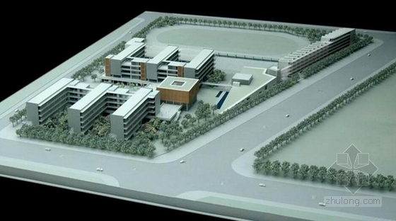 [深圳]E字布局型中学校园概念规划设计方案文本(含多媒体音频)-E字布局型中学校园概念规划模型图