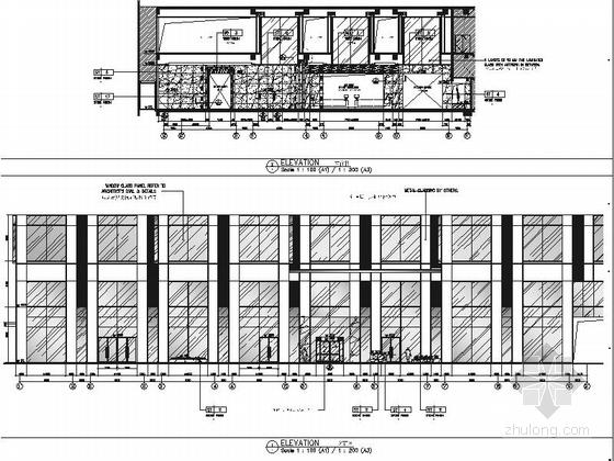 [浙江]全球国际化金融中心高档现代风格综合性酒店装修施工图(含效果)酒店入口大堂立面图