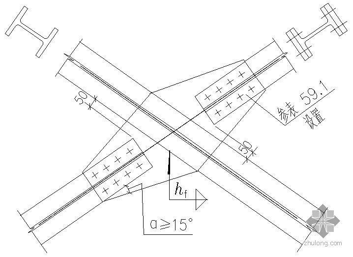 某支撑斜杆为H型钢与双节点板的连接节点构造详图