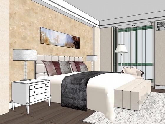 美式风格卧室sketchup模型下载