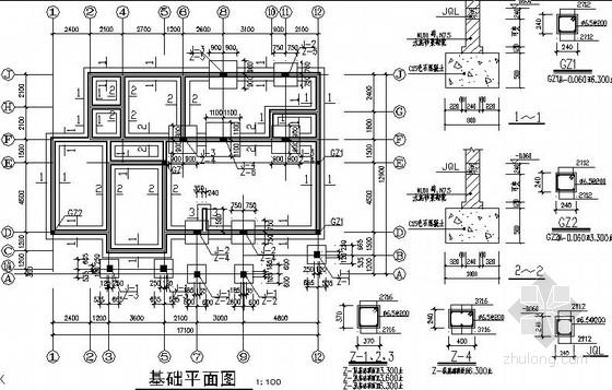 某三层框架别墅结构施工图(含建筑图)