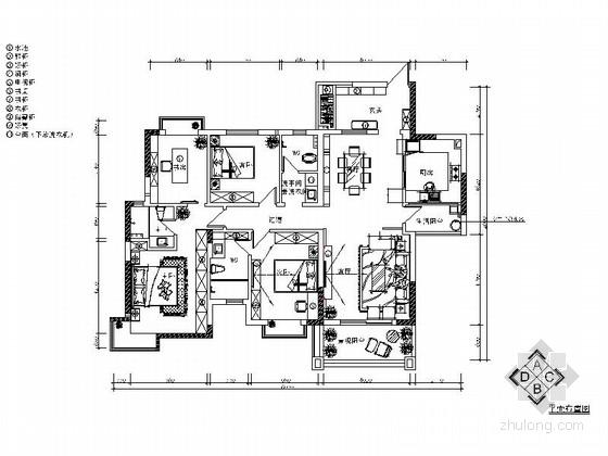 [佛山]精致简欧风格三居室样板间CAD施工图(含效果图)