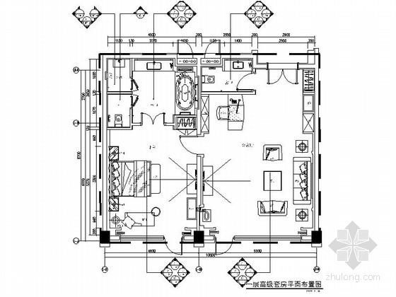[东莞]豪华五星级酒店高档高级套房CAD装修施工图(含效果)