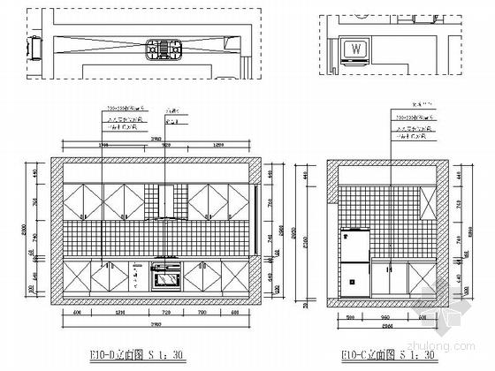 [绍兴]黄金地带时尚现代跃层公寓装修设计施工图厨房立面图