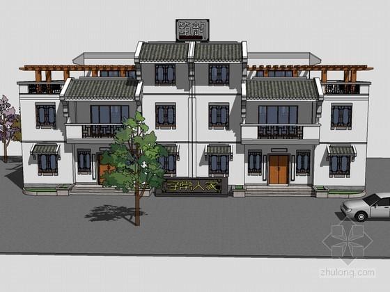 中式商业建筑SketchUp模型下载-中式商业建筑