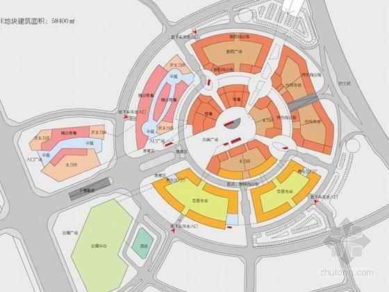[福建]多层双圆环性商业建筑设计方案文本(知名设计院)-多层双圆环性商业建筑设计平面图